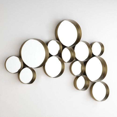 Espejo círculos con marco de metal dorado. Thai Natura.