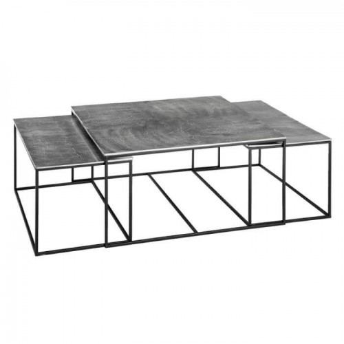 Set Mesas Plata. Material aluminio hierro. Plata. Ixia.