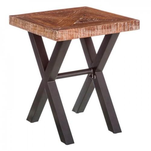 Mesita Bao. Metal y madera teca. Natural y negro.