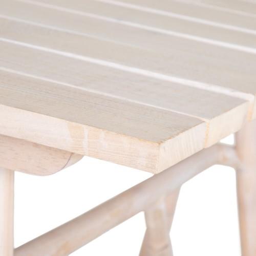 Mesa Tolly. Madera ratán. Blanco rozado.