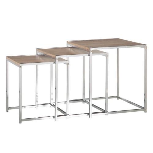 Set 3 mesas natural y plata Anne