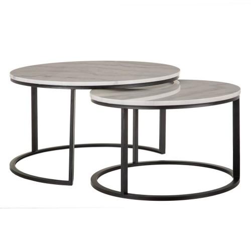 Set 2 mesas metal y mármol Arribes. Negro y blanco. Ixia.