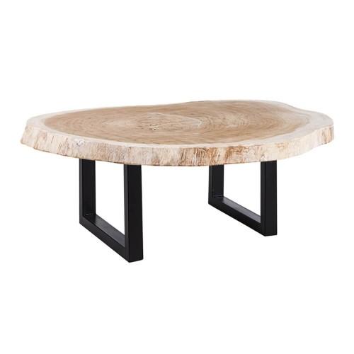 Mesa Centro Lilo. Mesa comedor blanca madera suar. Denzzo.