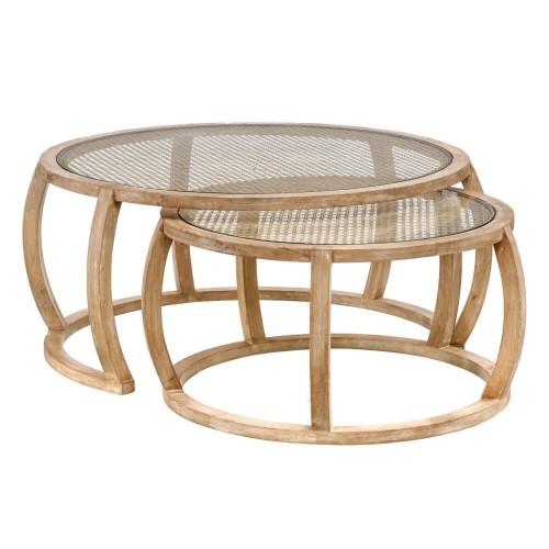 Set 2 mesas madera mango Graz
