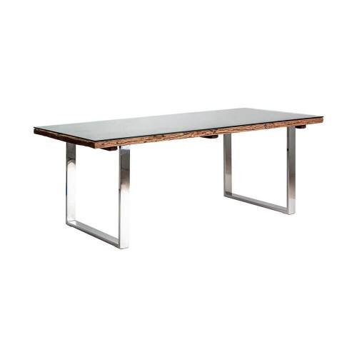 Mesa comedor madera acacia hierro cristal Ottawa
