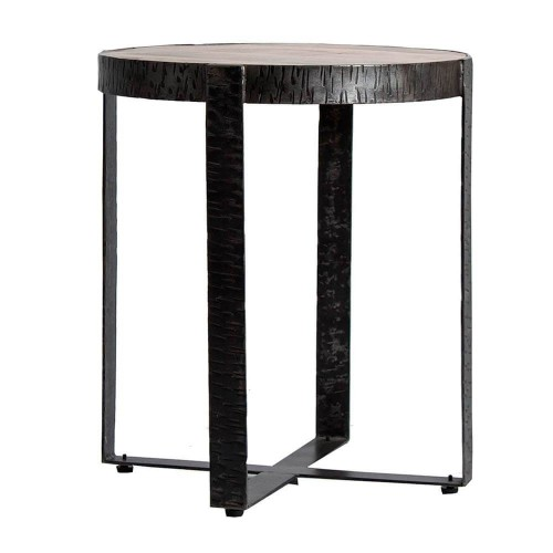 Mesa auxiliar hierro madera mango natural y negro Kitchener