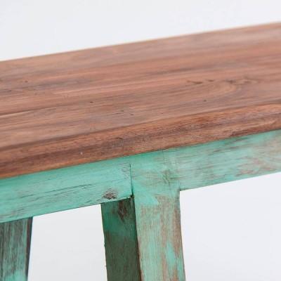 Banco Niágara. Banco madera railway wood natural y verde. Vical