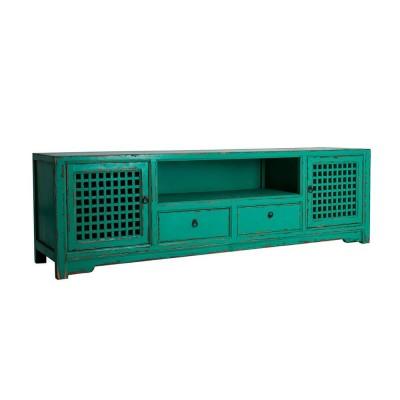 Mueble TV Palmer. Mueble televisor azul madera pino. Vical.