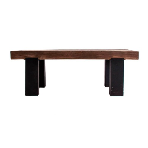 Mesa centro negro natural madera pino Hooper