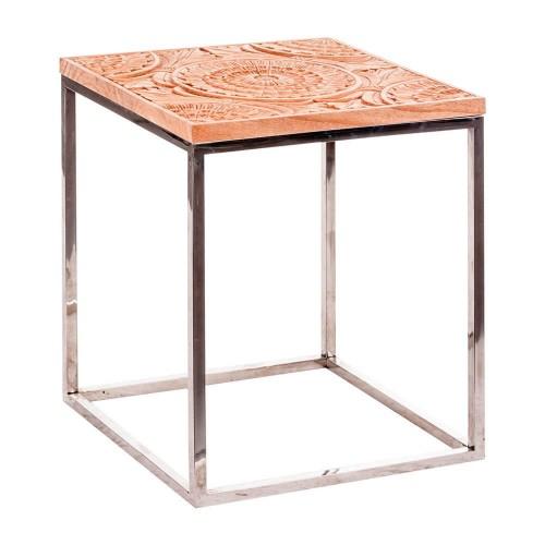 Mesa auxiliar natural madera mindi y acero Denton