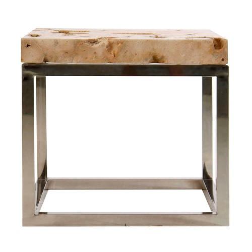 Mesa auxiliar natural acero piedra Bradenton