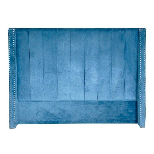Cabecero azul poliéster madera de pino Phoneix