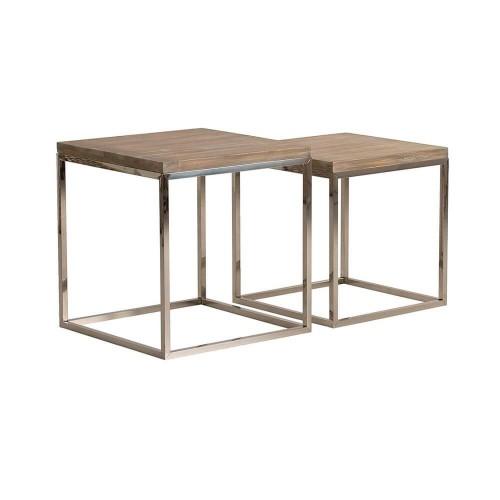 Set 2 mesas auxiliares natural y palta acero y madera pino Erin