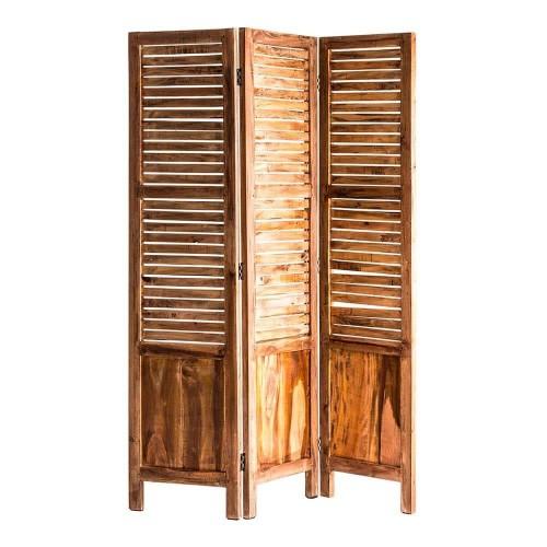 Biombo natural envejecido madera mahogany Ely