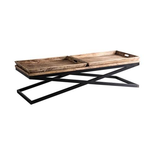 Mesa centro Fallon. Negro natural envejecido madera mango hierro. Vical.