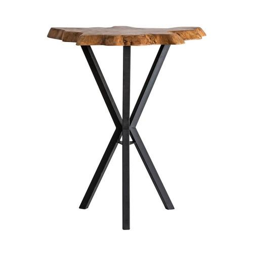Mesa bar natural negro hierro y madera teka Manor