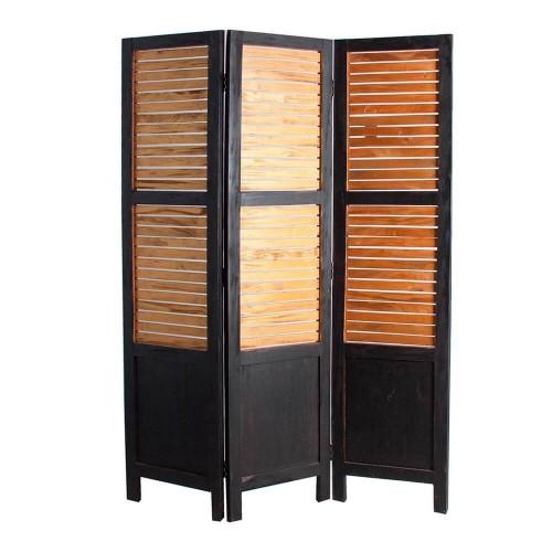 Biombo madera mahogany negro oro Ivo