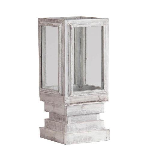 Portavelas blanco madera abeto y vidrio Alya