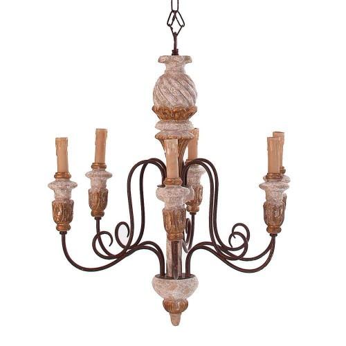 Lámpara techo blanca y marrón resina Cordelia