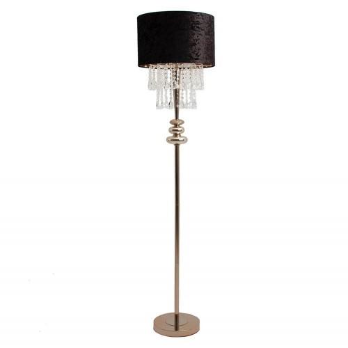 Lámpara pie dorado y negro hierro vidrio poliéster Larisa