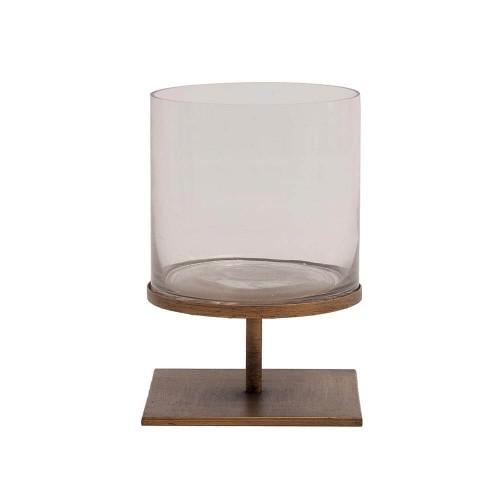Portavelas color cobre acero y vidrio Miranda