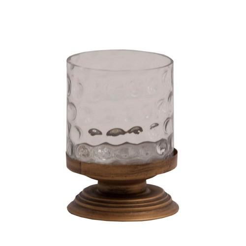Portavelas color cobre acero y vidrio Norma