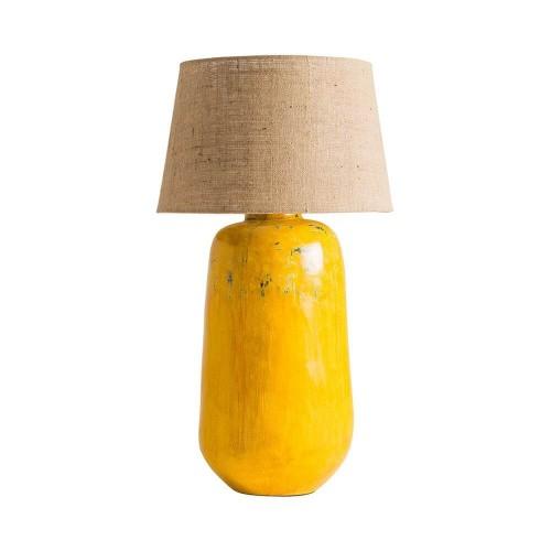 Lámpara mesa mostaza terracota y yute Turner