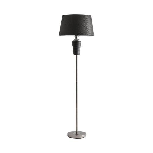 Lámpara pie plateada y negro vidrio y poliéster Ragetti