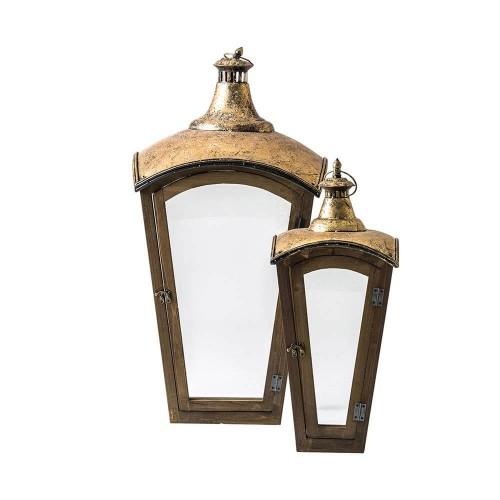 Portavelas dorado madera abeto acero y vidrio Baham 2 piezas
