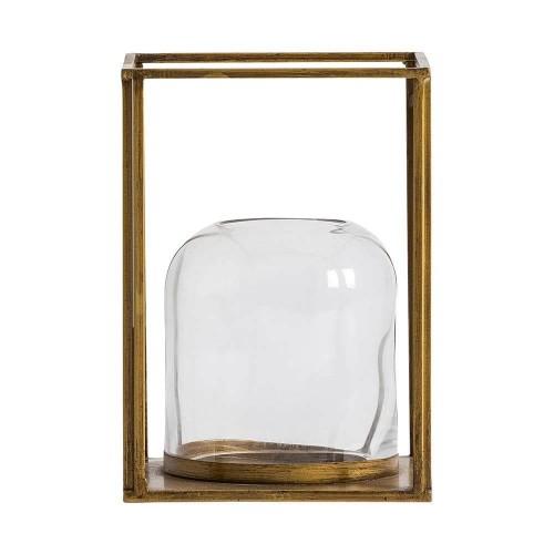 Portavelas color dorado acero y vidrio Crux