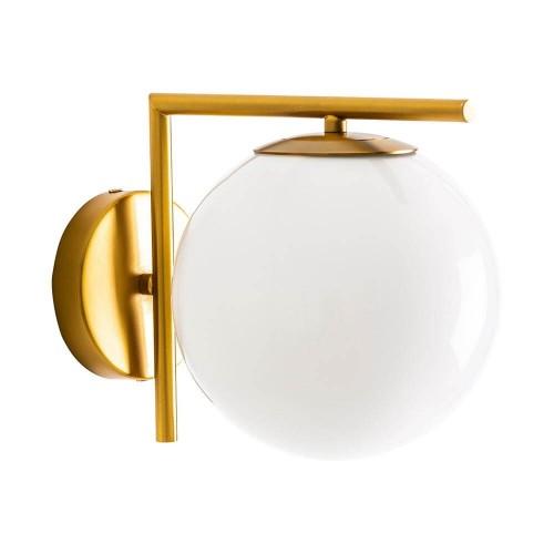 Lámpara pared dorada y blanca latón y cristal Orión