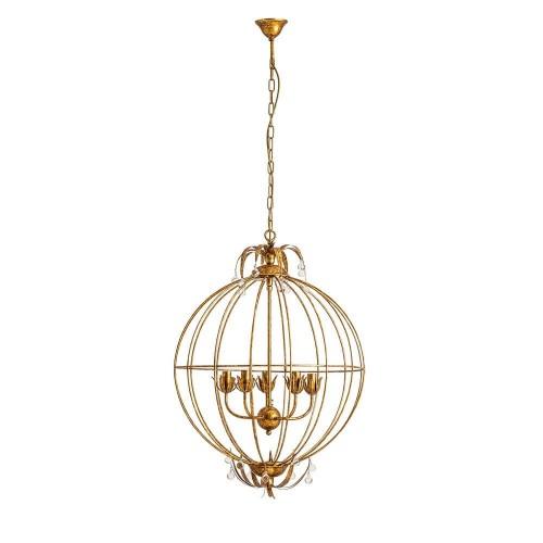 Lámpara techo dorada madera eucalipto vidrio y hierro Perseo