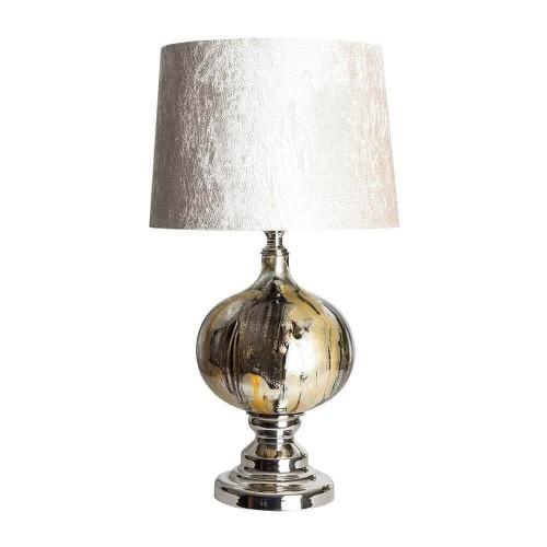 Lámpara mesa plateada y dorada  vidrio y poliéster Stefano