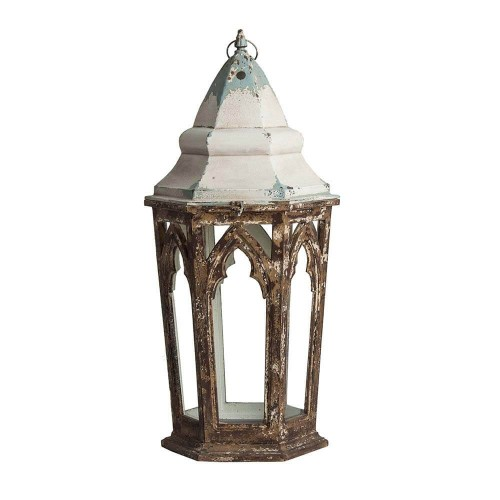 Portavelas blanco y marrón hierro madera de abeto y vidrio Melk