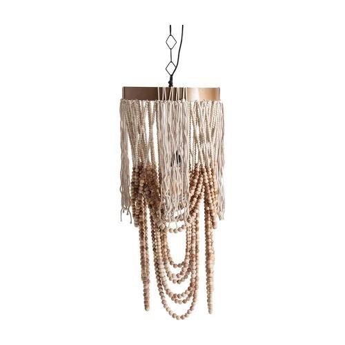 Lámpara techo color natural hierro madera y cuerda Clint
