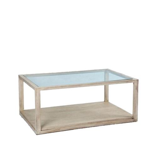 Mesa centro Blanch rectangular. Madera y cristal. Blanco velado. Thai Natura.