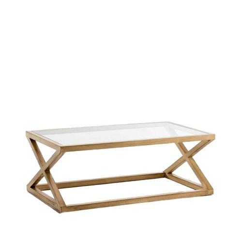Mesa centro Josh rectangular. Cristal y madera. Blanco Velado. Thai Natura