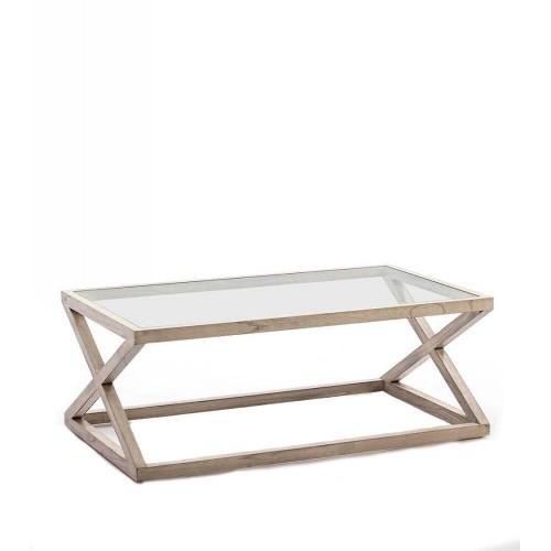 Mesa centro Lawrence rectangular. Cristal y madera. Gris velado. Thai Natura