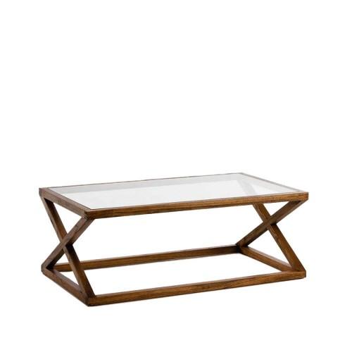 Mesa centro Callum rectangular. Cristal y madera. Natural velado. Thai Natura