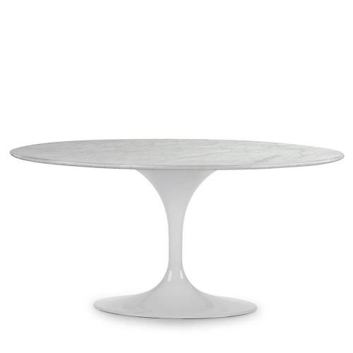 Mesa comedor Lewis. Mármol y aluminio. Blanco. Thai Natura
