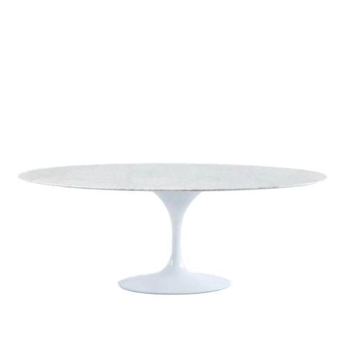 Mesa comedor Smith. Mármol y aluminio. Blanco. Thai Natura
