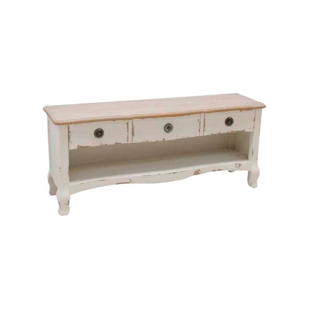 Mueble Tv Blanco. Madera, blanco, con 3 cajones. Quaint & Quality.