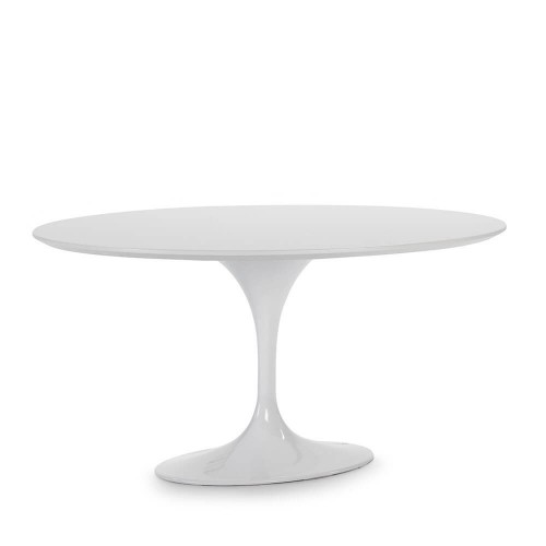 Mesa comedor redonda Vergara. Aluminio y DM. Blanco. Thai Natura.