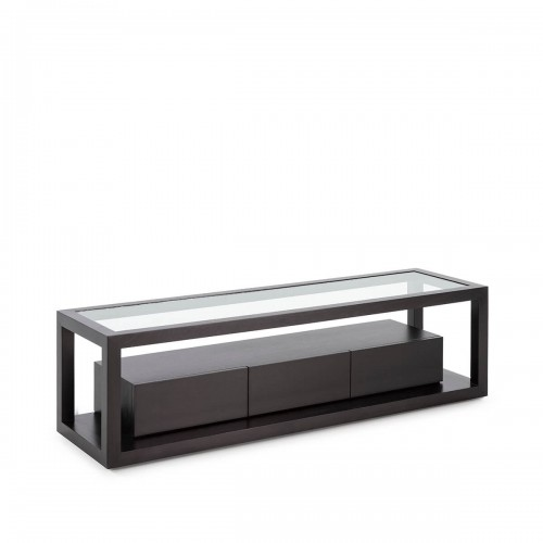 Mueble TV Blaine Negro. Madera de cedro y cristal. Negro. Thai Natura.
