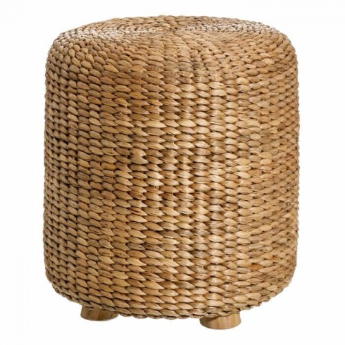 Puff Ogada. Puff de ratán. Patas de madera de teca. Color natural. Ixia.