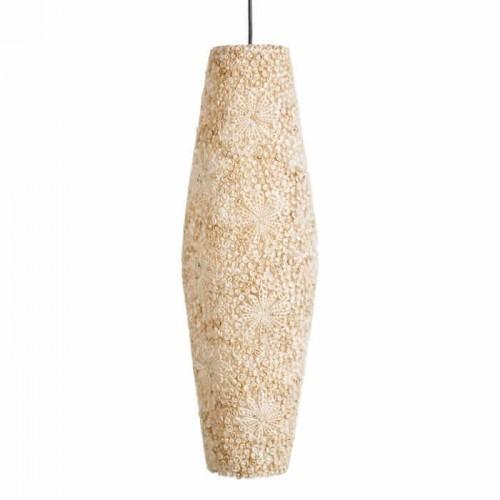 Lámpara Techo Joan. Lámpara de fibra natural color beige. Ixia.