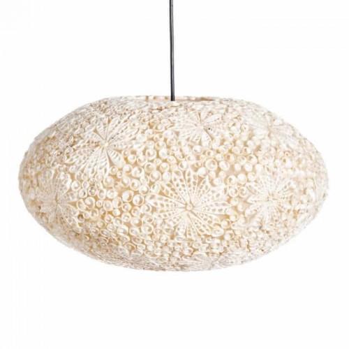 Lámpara Techo Joan Ovalada Lámpara fibra natural con capiz. Color natural. Ixia.