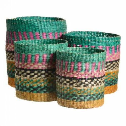 Set 4 Cestas Aruba. Cestas fibra natural multicolor. Ixia.