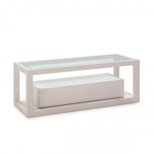 Mueble TV Rick Blanco. Mueble televisión madera de cedro y cristal. Dos cajones. Thai Natural.