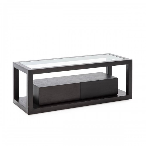 Mueble TV Rick Negro. Mueble tv madera de cedro y cristal. Dos cajones. Negro. Thai Natura.